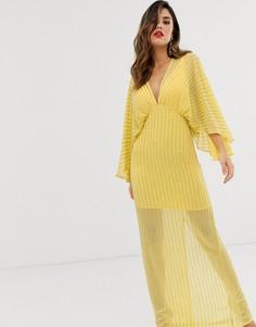 Платье-кимоно макси с пайетками ASOS DESIGN-Желтый