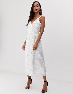 Платье миди с запахом в горошек Fashion Union-Белый