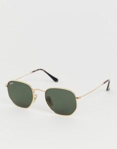 Солнцезащитные шестиугольные очки Ray-Ban 0RB3548N-Золотой