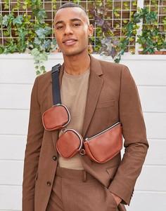 Коричневая сумка-кошелек на пояс из искусственной кожи с дополнительными карманами ASOS DESIGN-Черный