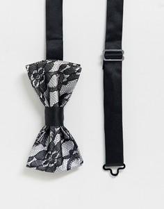 Кружевной галстук-бабочка Devils Advocate-Серебряный