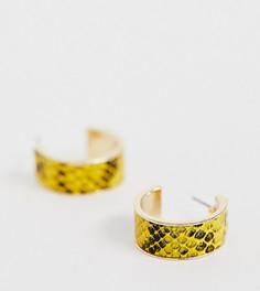 Эксклюзивные серьги-кольца с отделкой под змеиную кожу желтого цвета Liars & Lovers-Желтый