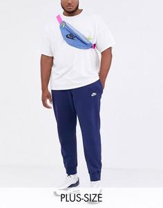 Темно-синие джоггеры с кромкой манжетом Nike Plus Club-Темно-синий