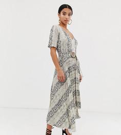 Платье миди с плиссированной юбкой, V-образным вырезом и змеиным принтом ASOS DESIGN Petite-Мульти
