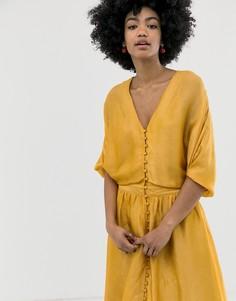 Платье миди Gestuz Lilliane-Желтый