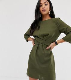 Льняное платье мини с запахом ASOS DESIGN Petite-Зеленый