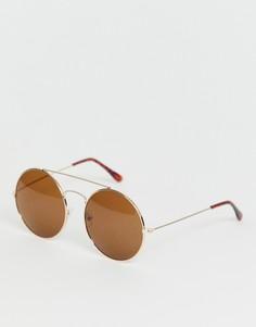 Круглые солнцезащитные очки с золотистой отделкой SVNX-Золотой 7X
