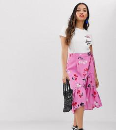 Юбка миди с цветочным принтом и оборкой Vero Moda Petite-Мульти