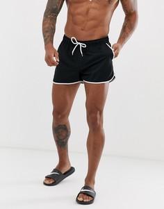 Черные шорты для плавания и бега с контрастной белой отделкой ASOS DESIGN-Черный