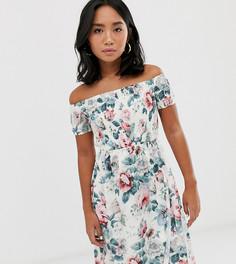 Платье миди с открытыми плечами и цветочным принтом Parisian Petite-Белый