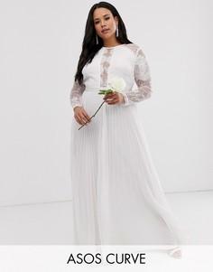 Платье макси с плиссированной юбкой и кружевным верхом ASOS EDITION Curve-Белый