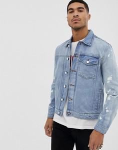 Джинсовая куртка с выбеленными рукавами Religion-Синий