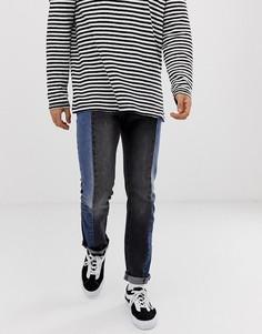 Черные джинсы слим с заниженной талией и контрастными вставками Levis 511-Черный