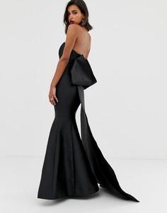 Платье макси с лифом-бандо и бантом ASOS EDITION-Черный