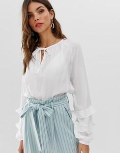 Блузка с объемными рукавами Vila-Белый