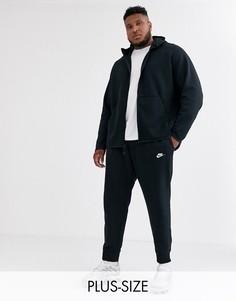 Черные джоггеры с кромкой манжетом Nike Plus Club-Черный