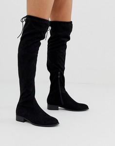 Черные ботфорты на плоской подошве Public Desire Elle-Черный цвет