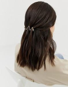 Золотистая заколка для волос с принтом в виде широких мазков ASOS DESIGN-Золотой