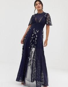 Темно-синее кружевное платье макси с вышивкой Amelia Rose-Темно-синий