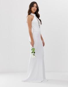 Свадебное платье макси с халтером, кружевными элементами и подолом годе City Goddess-Белый