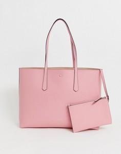 Розовая кожаная сумка-тоут со съемным кошельком Kate Spade-Розовый