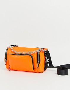 Сумка в стиле милитари с пряжками ASOS DESIGN-Оранжевый