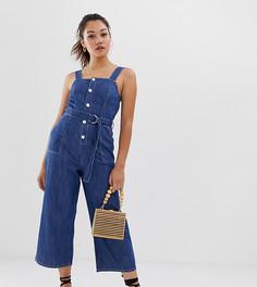 Выбеленный джинсовый комбинезон-сарафан Miss Selfridge-Синий