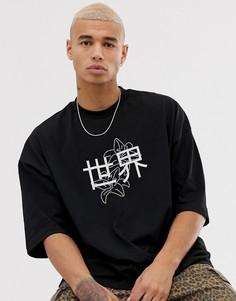 Свободная футболка со стразами и иероглифами ASOS DESIGN-Черный