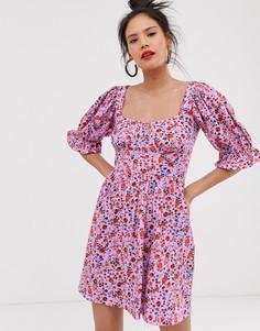 Чайное платье мини с пышными рукавами и ярким цветочным принтом ASOS DESIGN-Мульти