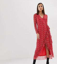 Красное платье с запахом, цветочным принтом и оборкой Na-kd-Красный