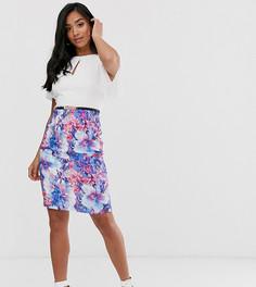 Платье-футляр 2 в 1 с рукавами клеш и дизайном в стиле колор блок с цветочным принтом Paper Dolls Petite-Мульти