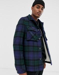 Темно-синяя куртка в клетку с добавлением шерсти и подкладкой из искусственного меха ASOS DESIGN-Темно-синий
