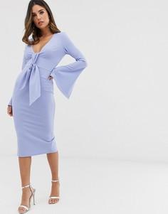 Платье миди с длинными рукавами и поясом ASOS DESIGN-Синий