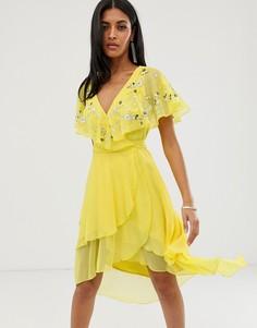 Платье миди с кейпом, удлиненной спинкой и отделкой ASOS DESIGN-Желтый