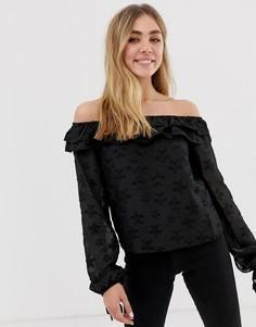 Блузка с открытыми плечами и полупрозрачной накладкой Glamorous-Черный