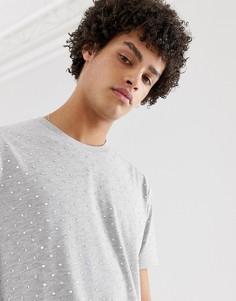 Свободная фестивальная удлиненная футболка с отделкой переливающимися камнями ASOS DESIGN-Серый