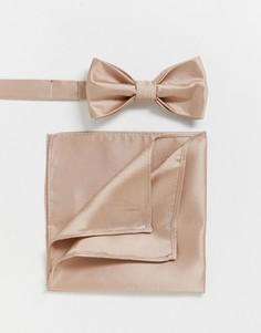 Однотонные галстук-бабочка и платок для нагрудного кармана Devils Advocate Wedding-Розовый