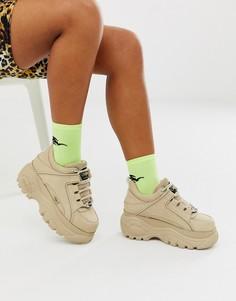 Кремовые кроссовки на платформе Buffalo London-Белый