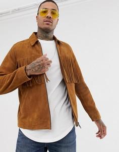 Светло-коричневая замшевая куртка на молнии с кисточками ASOS DESIGN-Светло-коричневый