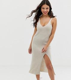Трикотажное платье миди в рубчик ASOS DESIGN Petite-Светло-бежевый