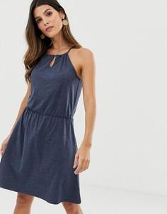 Темно-синее трикотажное платье с халтером и отделкой на талии Esprit-Темно-синий