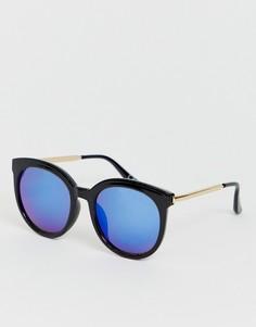 Солнцезащитные очки в стиле ретро с синими стеклами Jeepers Peepers-Черный