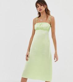 Платье миди на бретелях Reclaimed Vintage inspired-Зеленый