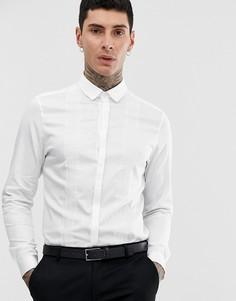 Сатиновая приталенная рубашка с кружевными вставками ASOS DESIGN-Белый