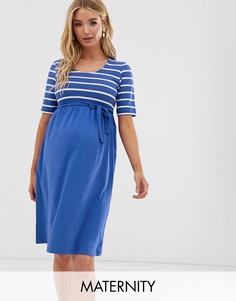 Эластичное платье с полосками Mamalicious-Синий Mama.Licious