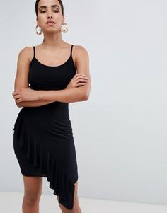 Платье мини с асимметричной оборкой Rare London-Черный