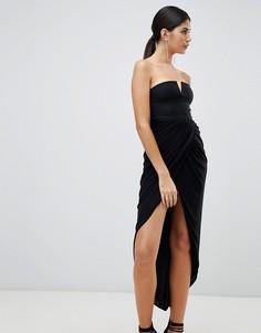 Платье миди с драпированным запахом Rare London-Черный