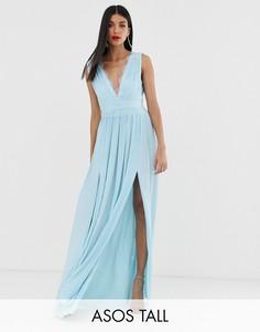 Плиссированное платье макси с кружевной вставкой ASOS DESIGN Tall PREMIUM-Синий