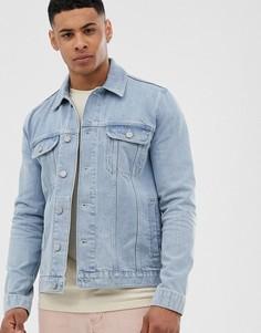 Светлая джинсовая куртка классического кроя ASOS DESIGN-Синий