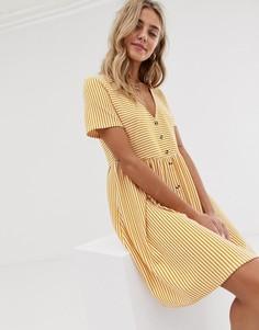 Свободное платье мини в полоску с V-образным вырезом и пуговицами ASOS DESIGN-Белый